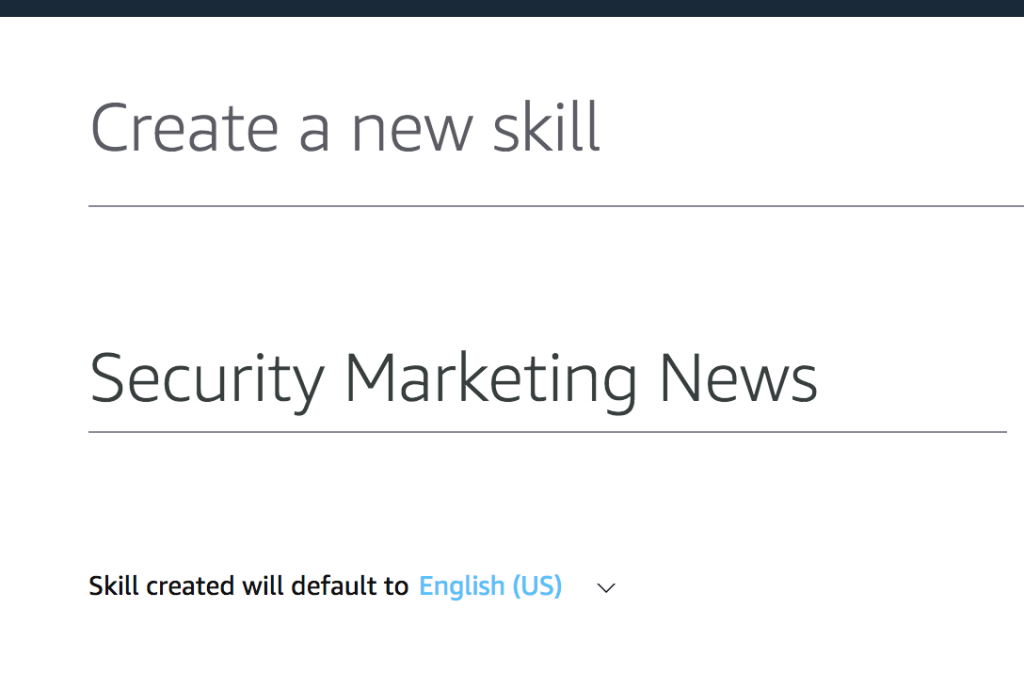 Enter a skill name for your flash briefing