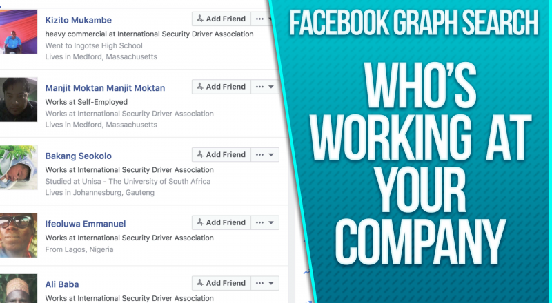 Facebook Graph Search - Who's working at your company