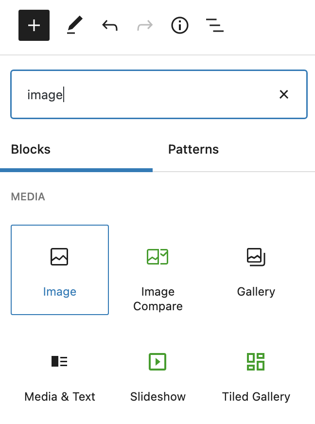 add the Gutenberg image block to the blog post