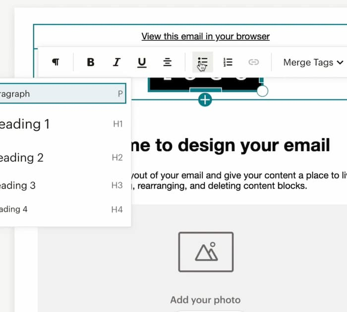 Mailchimp new email builder editing options