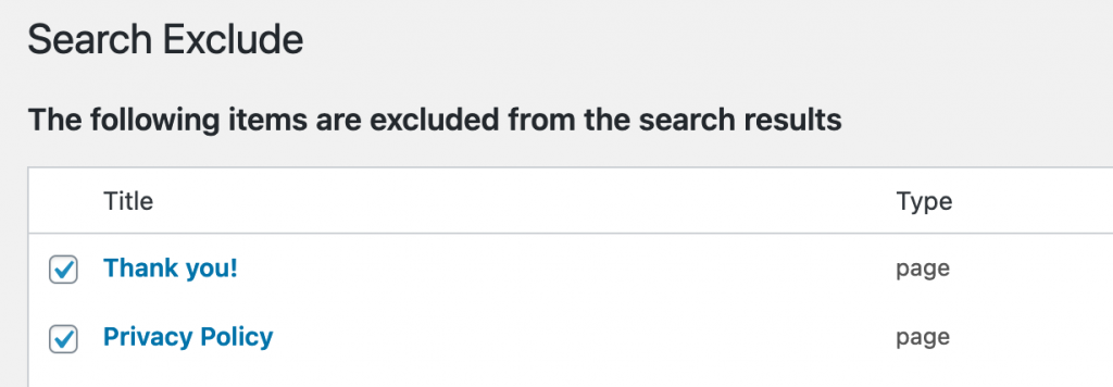 Search exclude plugin pages excluded list.
