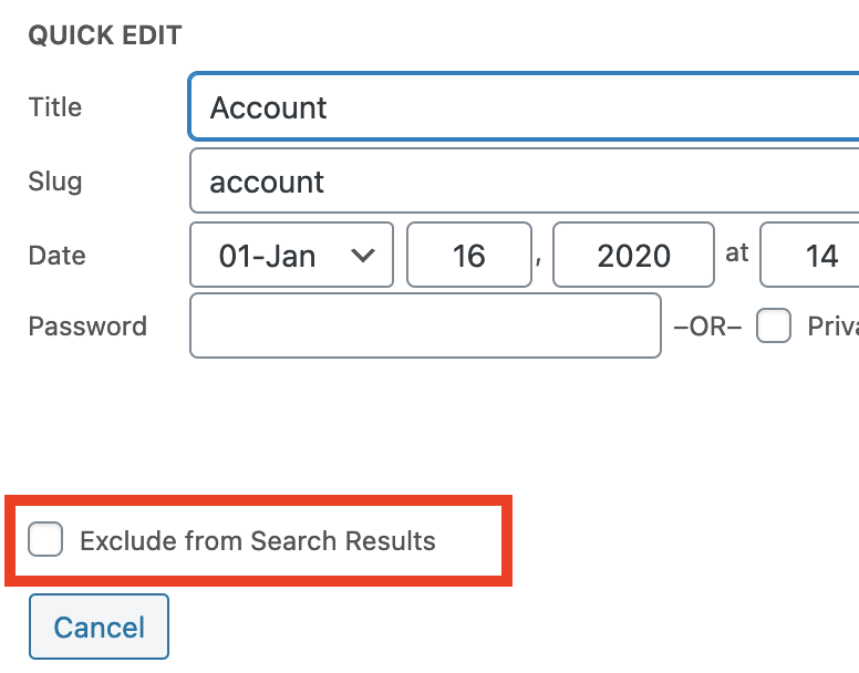 Exclude pages using Quick edit function