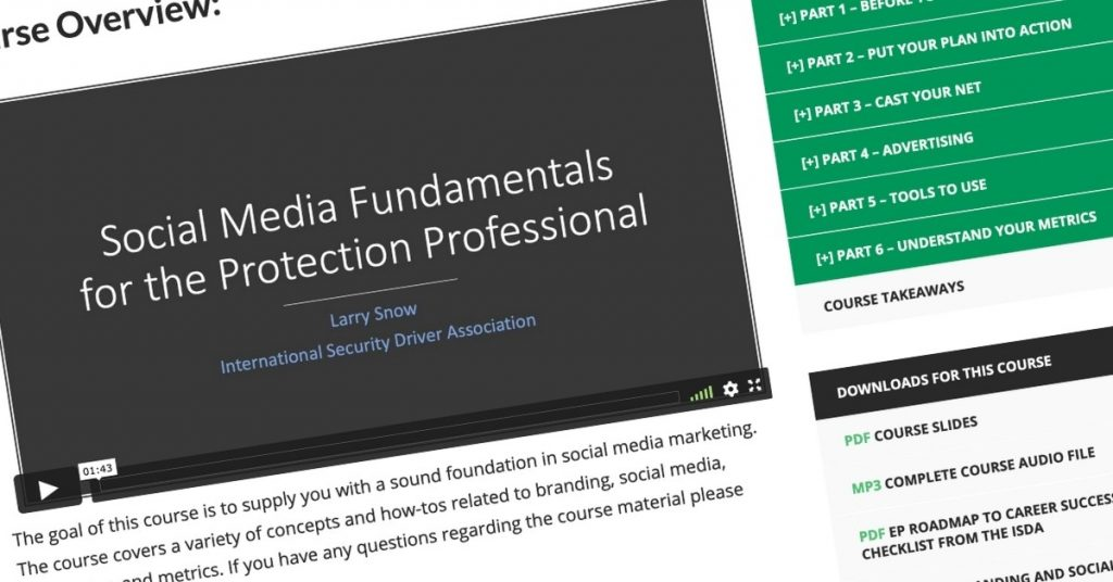 Social Media Basics for Protection Professionals Course