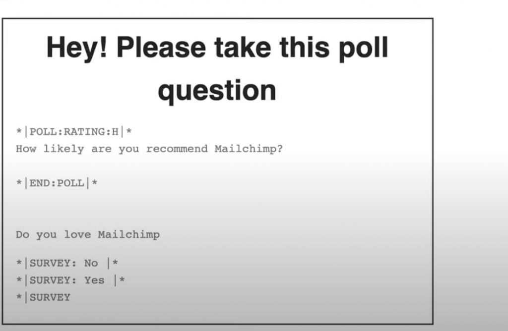 what the poll and survey look like in the campaign email