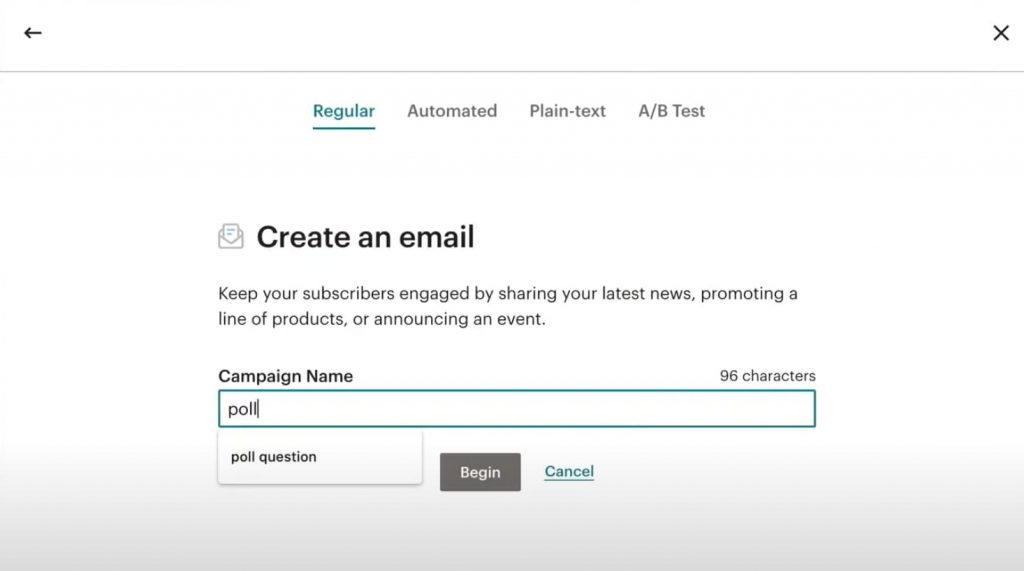 name your mailchimp email campaign