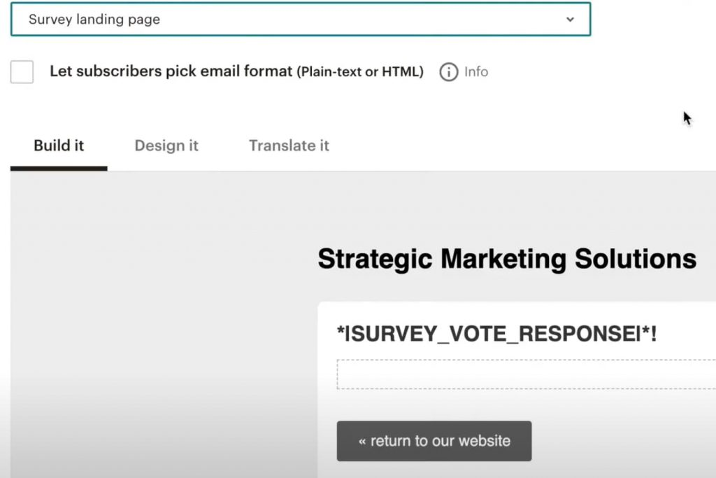 Mailchimp survey landing page that someone lands on after taking a poll or survey