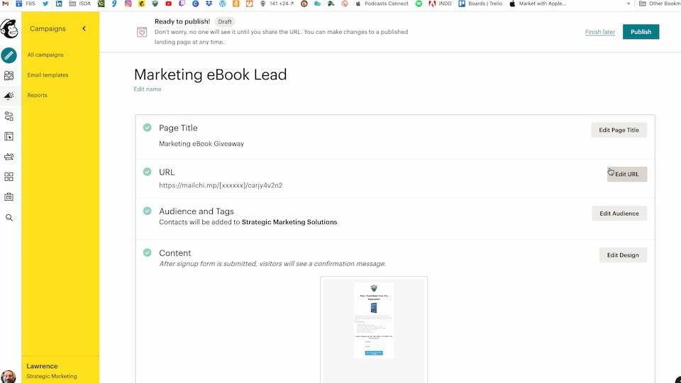 mailchimp landing page options